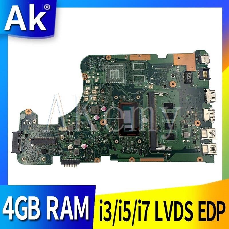 New!!! i3/i5/i7 X555LA X555LAB LVDS EDP motherboard For Asus X555LD X555LJ X555LA X555LAB 4G RAM laptop mainboard Tested Workin
